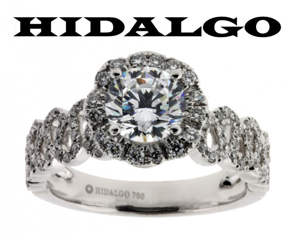 Hidalgo 1-88 diamond Engagement ring in 18k White gold fits 1ct Round cut