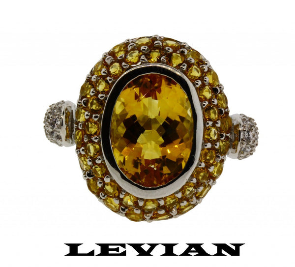 Levian large diamond & citrine ring in 14k white gold new with tag.
