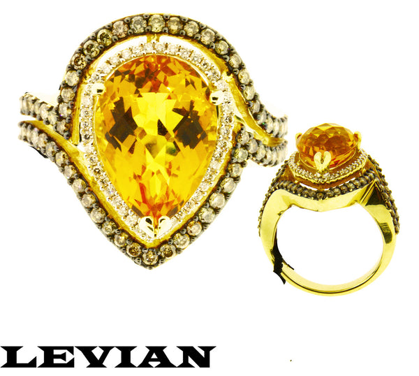 Levian Women's chocolate diamond & citrine large ring in 14k yellow gold Size 7