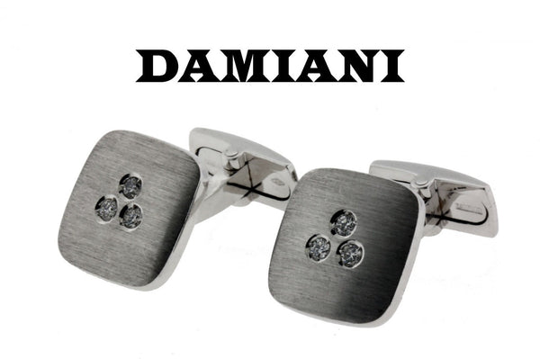 Damiani diamond cufflinks in 18K white gold new with tag in box with certificate