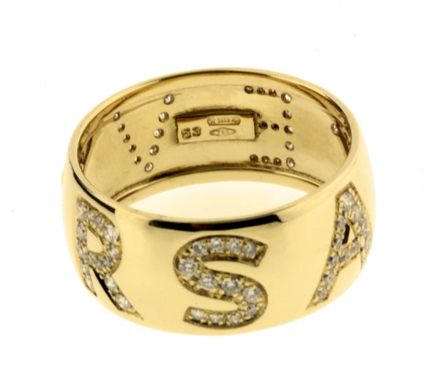 Gianni Versace ladies pave diamond logo ring in 18k, new in box with certificate