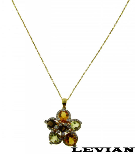 Levian Diamond, Smokey Topaz & Citrine Necklace In 14k Yellow Gold Authentic NIB