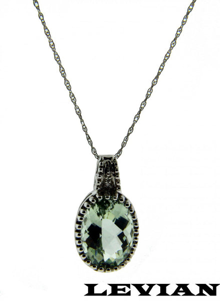 Levian Women's VS G diamond & green amethyst necklace in 14k white gold 18""