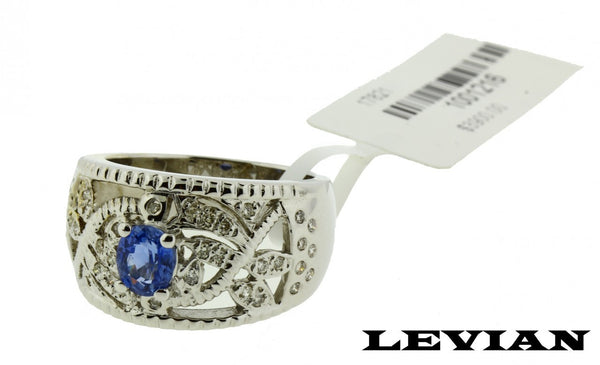 Levian diamond blue sapphire ring in 18k white gold new size 7.5.