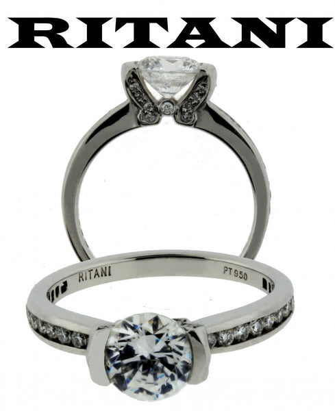 Ritani 1RZ2007ARP .32ct diamond engagement ring in Platinum fits 1ct diamond.