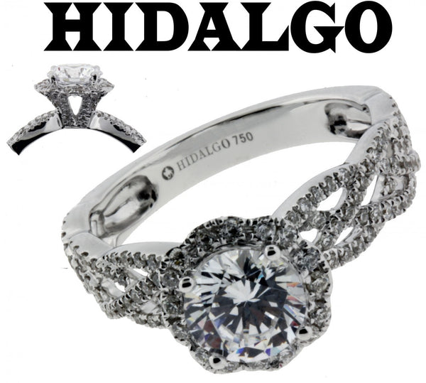 Hidalgo 1-4 diamond Engagement ring 18k White gold fits 1ct diamond