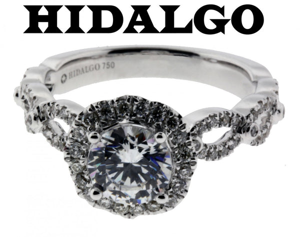 Hidalgo 1-30 diamond Engagement ring in 18K White gold fits 1ct Round cut