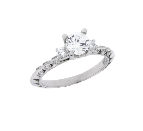 Tacori 3 stone Diamond Engagement Ring In Platinum Fits .75CT Round Size 6.5