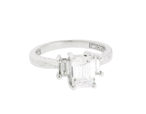Tacori Platinum emerald cut diamond engagement ring fits 1ct Emerald cut SZ 4.5