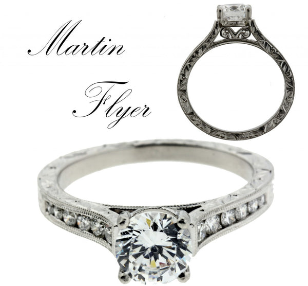 Martin Flyer VC06PL-AENGM engagement ring in Platinum fits 1 carat round SZ 6.25