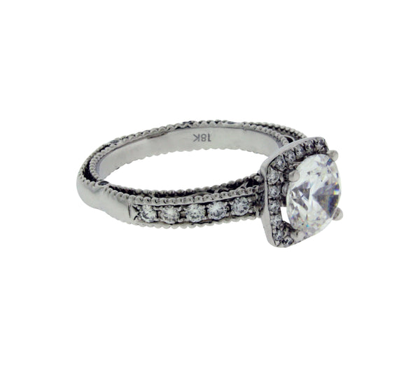 Verragio 5004 18k gold diamond engagement ring fits 1.25 ct round cut