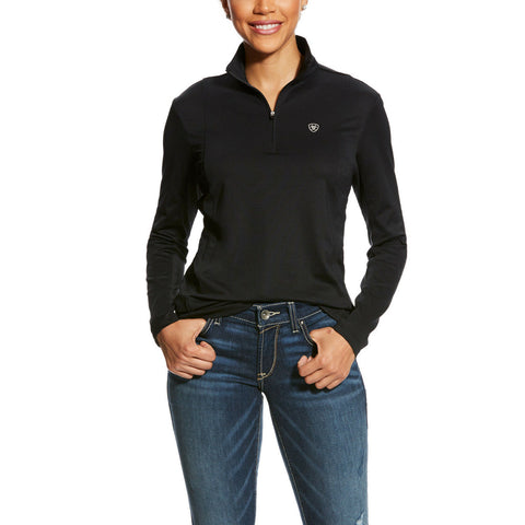 Ariat® Ladies AriatTEK Sunstopper Black 1/4-Zip Cool Pullover 10025736 - Wild West Boot Store