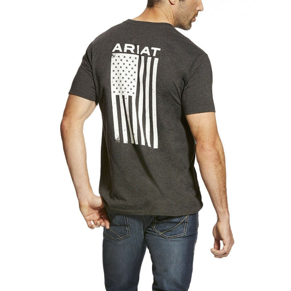 Ariat® Men's Freedom Charcoal Grey Flag Short Sleeve T-Shirt 10025209