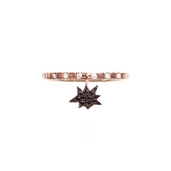 Cosmos Black Diamond Explosion Charm Ring