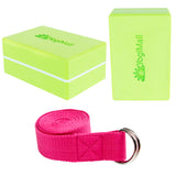 2 Yoga Blocks, Yoga Stretching Strap - Green