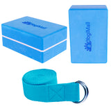 2 Yoga Blocks, Yoga Stretching Strap - Blue