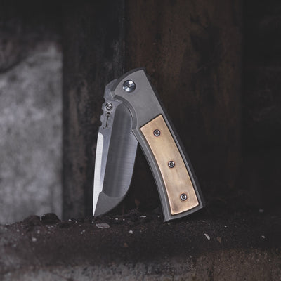 Knife - Chaves Knives Ultramar Redencion Drop Point - Titanium W/ Patina'd Brass Inlay (Exclusive)