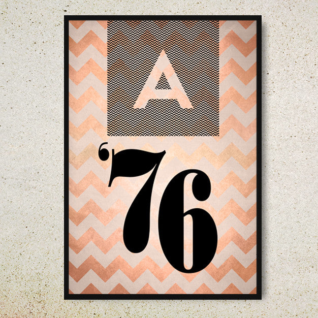 Your date and initials set in black against a copper chevron background on this poster.
