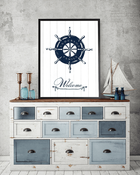 Rustic room with nautical accents and a Helm print framed on the wall