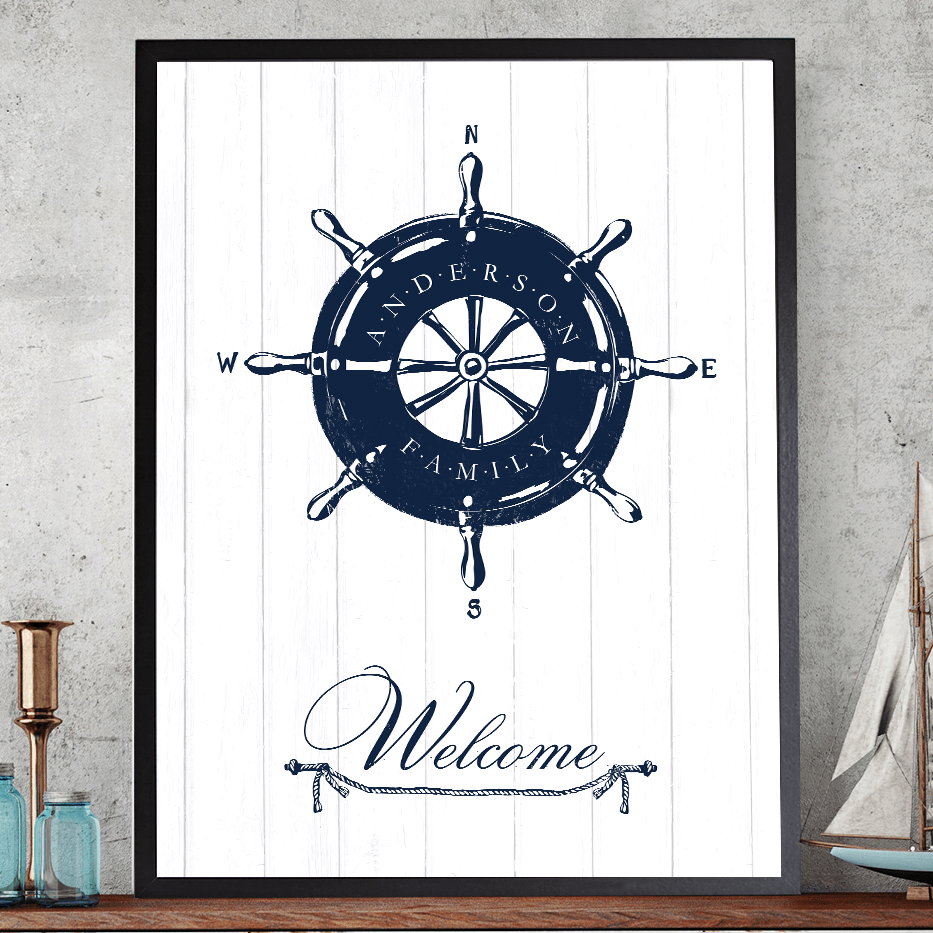 "Nautical print with a helm and a family name imprinted on it. Large, curvy lettering ""Welcome"" is on the bottom."
