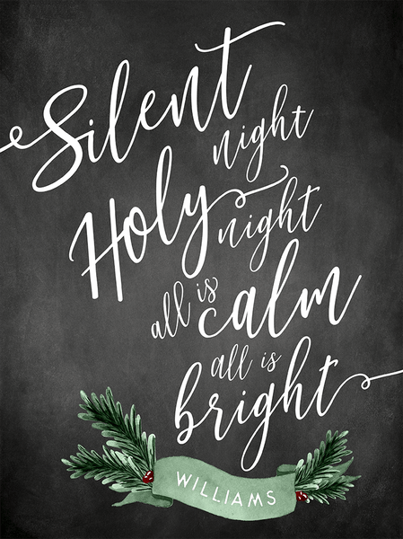 close up showing detail of chalkboard and brush lettering and the personalilzation on the Silent Night Christmas sign
