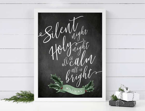 Silent Night personalized print against a shiplap wall in a farmhouse home decor