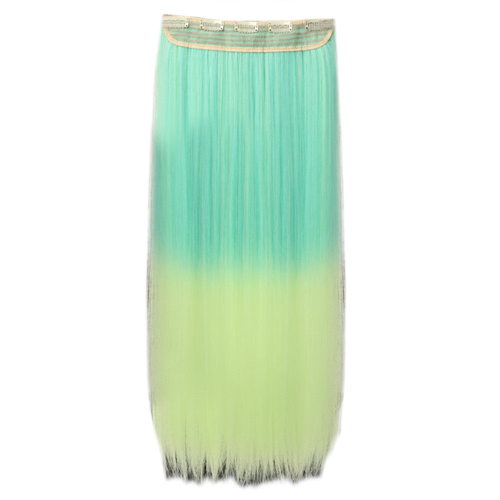 Gradient Ramp Five Cards Hair Extension Wig    light green to yellow - Mega Save Wholesale & Retail - 2