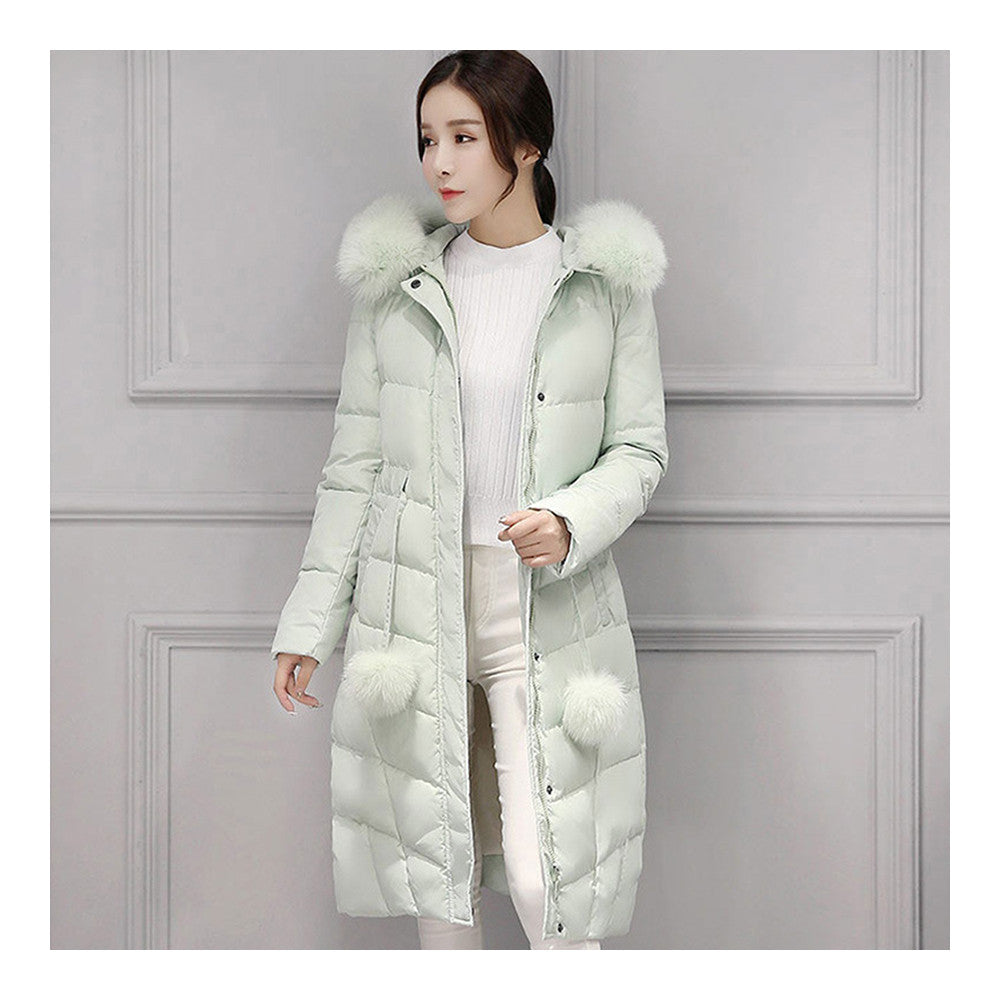 Real Fox Fur Collar Middle Long Down Coat Woman   pea green   S - Mega Save Wholesale & Retail - 1