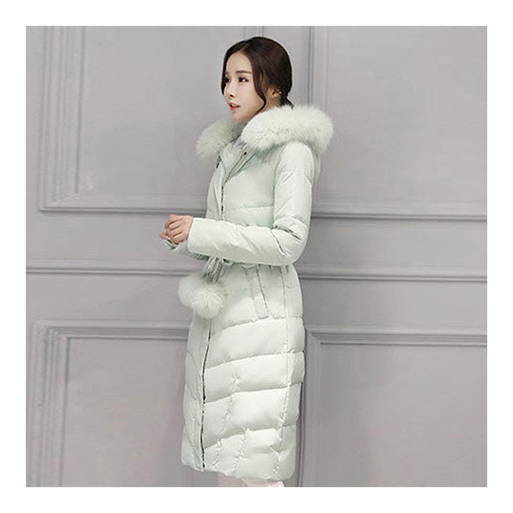 Real Fox Fur Collar Middle Long Down Coat Woman   pea green   S - Mega Save Wholesale & Retail - 2