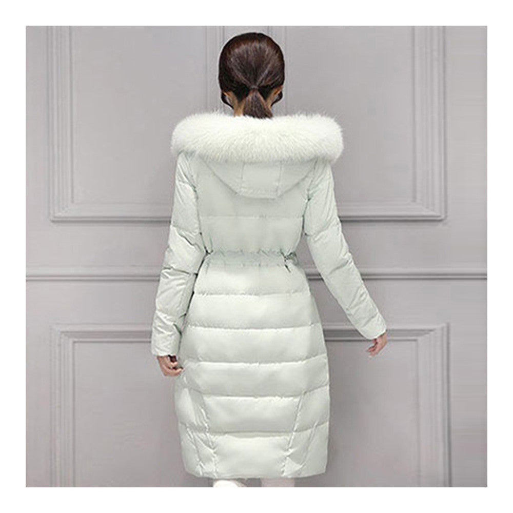 Real Fox Fur Collar Middle Long Down Coat Woman   pea green   S - Mega Save Wholesale & Retail - 3