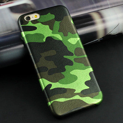 Army Camouflage Leather Back Cover iPhone Case