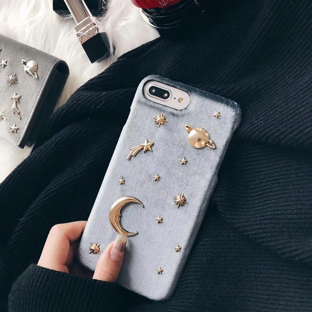 3D Metallic Star Moon Saturn flannel hard iPhone case