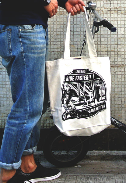 Live Fast Ride Faster White Bag