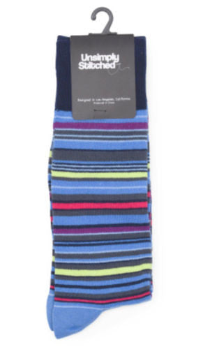 Unsimply Stitched Light Blue Railroad Stripe Socks Men's Size 8-13 - Swanky Bazaar