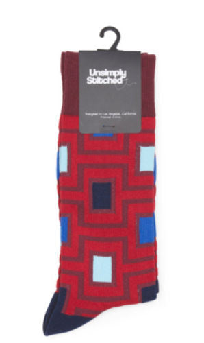 Unsimply Stitched Red Maze Printed Socks Women's Size 8-12, Men's Size 8-13 - Swanky Bazaar