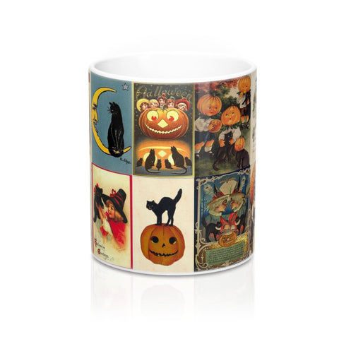 Vintage Halloween Cat Postcards Graphic Coffee Mug 11 or 15 oz (#2)