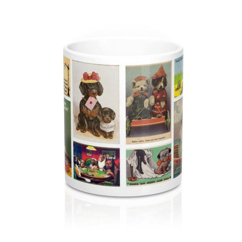 Vintage Puppy Dog Art Postcards Novelty Coffee Mug in 11 or 15 oz.