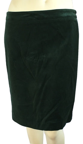 Lord & Taylor Curvy Velvet Pencil Skirt in Bottle Green, Size 8P - Swanky Bazaar - 1