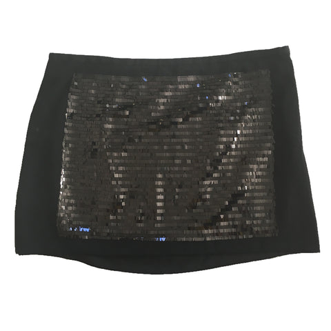RACHEL Rachel Roy Sequins Panel Front Lined Black Mini Skirt, Size 12