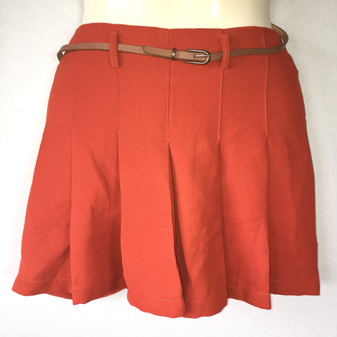 Lola Rust Textured Box Pleated Micro-Mini Skirt / Skort / Shorts & Belt Size 13