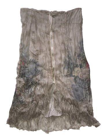 Passion Concept Floral Print High-Low Hem Crinkled Skirt Size M