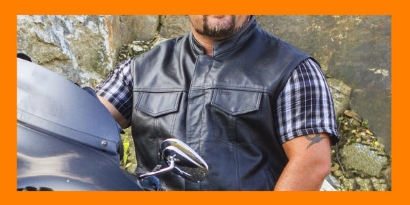 Leather Motorcycle Vest | Leather  Vest - Divine Leather USA
