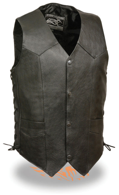 Men's Classic Side Lace Motorcycle Biker Leather Vest  w/ Snap Front - Divine Leather USA - 1