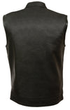 Men's Open Neck Patch Holder Vest Snap/Zip Front Club Vest - Divine Leather USA - 2