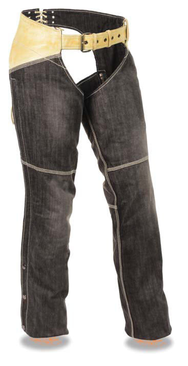 Women's Two Tone Denim & Leather Chap W/ Two Front Pockets - Divine Leather USA - 1