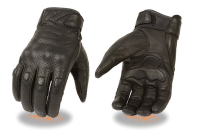 Men's Short Perforated Racing Gloves, Gel Palm - Divine Leather USA