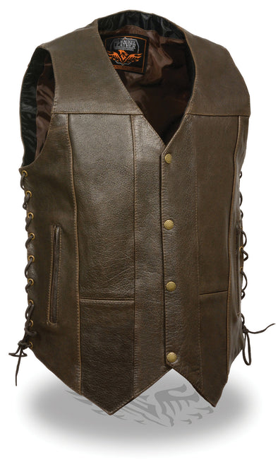 Men's Retro Brown 10 Pocket Side Lace Vest - Divine Leather USA - 1