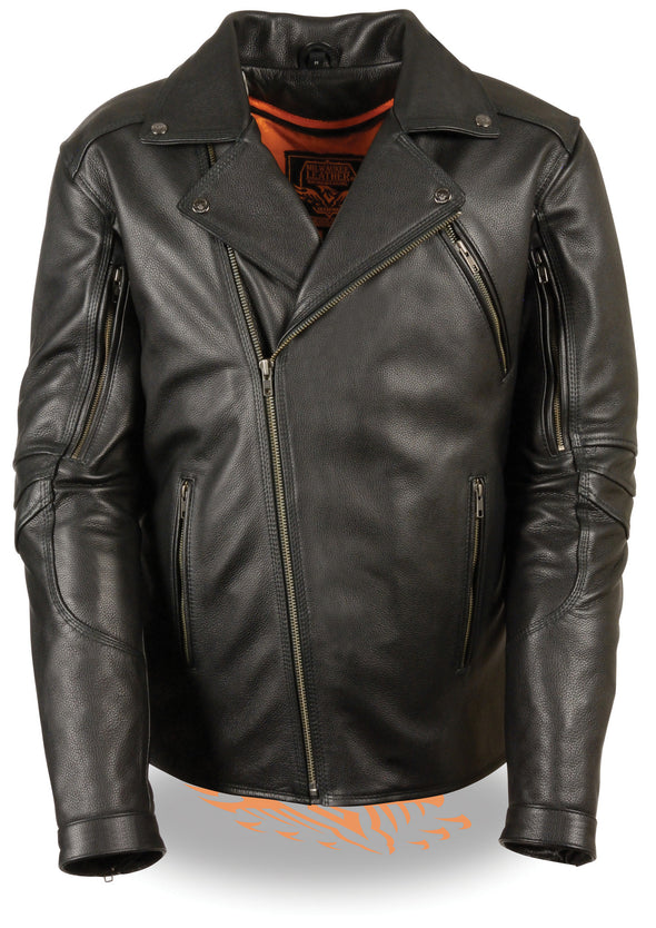 Men's Tripple Stitch Beltless Biker Jacket - Divine Leather USA - 4