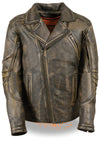 Men's Tripple Stitch Beltless Biker Jacket - Divine Leather USA - 1