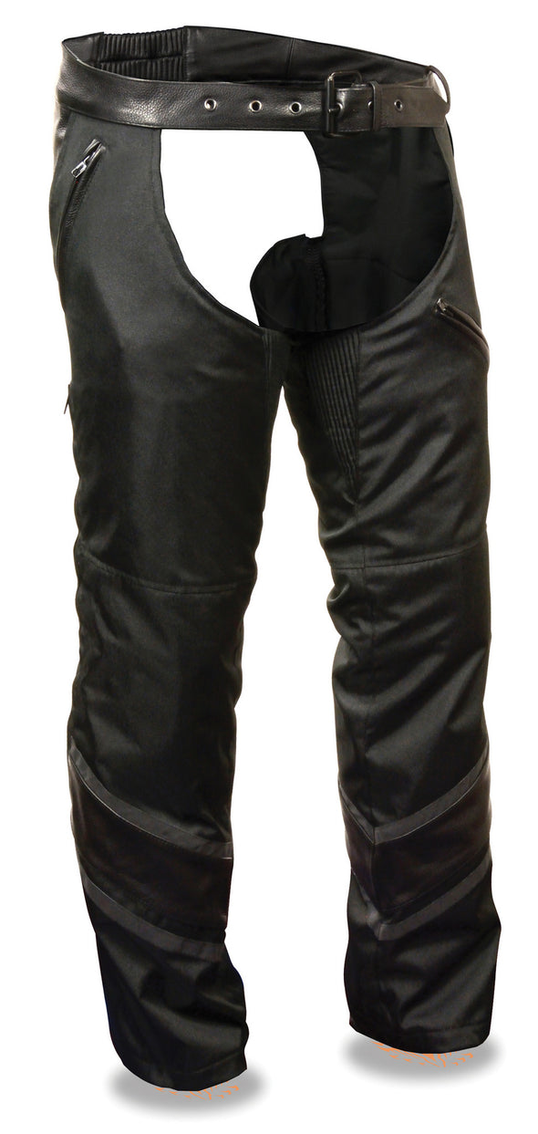Men's Vented Textile Motorcycle Chap W/ Leather Trim and Snap-Out Liner - Divine Leather USA - 1